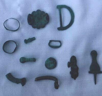 Lot Ancient Antique Old Artifacts Totem Ring Letter Green Metal Copper Roman ?