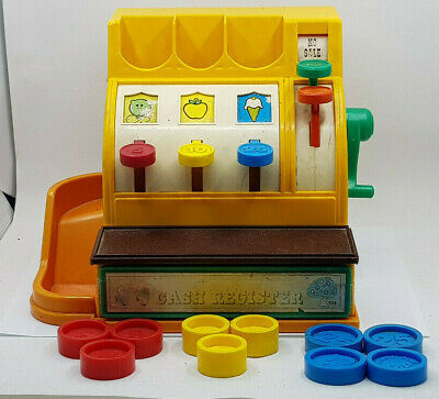 Vintage Fisher Price 926 Cash Register 1974 With Coins