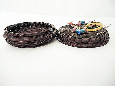 """Vintage  Chinese Bamboo Sewing Basket W Lid - Small Size  - 6"""" Across"""