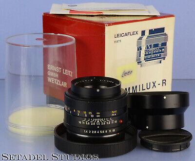 Leica 50Mm Summilux-R F1.4 1St Version 11875 R 3Cam Lens +Caps +Shade +Box Mint
