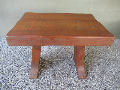 "Vintage Foot Stool Stand Primitive Pine Wood Pegged 11"" Tall x 14"" Long, Country"