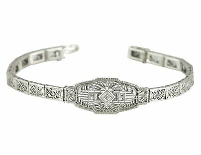 "1930's Antique Art Deco Sterling Silver 0.01ct Diamond Filigree 6.50"" Bracelet"