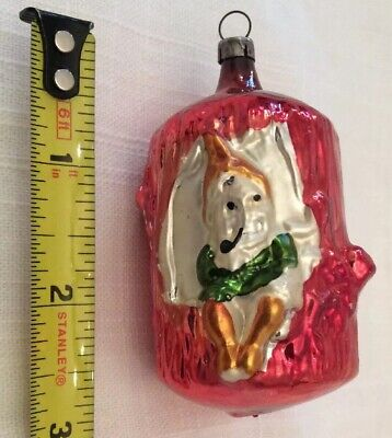 """ELF Gnome In TREE Trunk Figural ANTIQUE Glass CHRISTMAS Ornament 3"""" Germany?"""