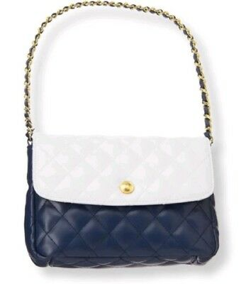 Janie & Jack Quilted Colorblock Purse navy White Designer HTF Woven Chain mint