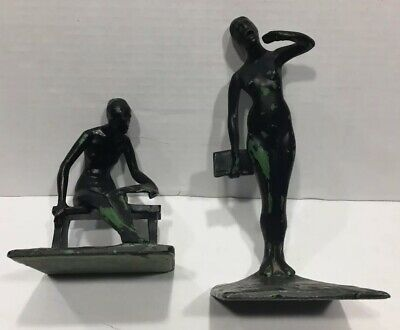 RARE ROBERT THEW Bronze Painted Bookends Preface & Finis
