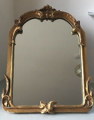 c1920s/30s Antique Gilt Wall or Dressing Table Mirror Art Deco Edwardian Vanity