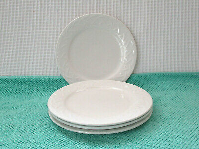 """Oneida PICNIC White Embossed Set of 4 (7-3/4"""") Plates Preowned NICE!"""