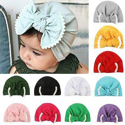Toddler Baby Girls Kids Turban Bow Head Wrap Beanie Hat Cap Headband Hair Band