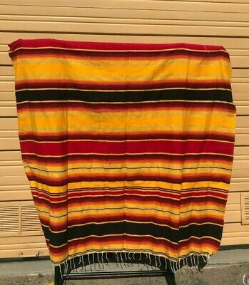 Serape XXL,5' X 7',Mexican Blanket,HOT ROD, Seat Covers,Motorcycle, RED - YELLOW