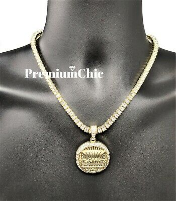 Mens 14k Gold Plated Last Supper CZ Pendant & ICED Tennis Chain Hip Hop Jewelry