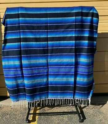 Serape XXL,5' X 7',Mexican Blanket,HOT ROD, Seat Covers,Motorcycle, DARK BLUE