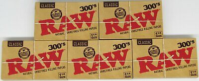 RAW 300s Classic 1 1/4 Natural Unrefined 1.25 Rolling Papers 1500 Leaves 5 PACKS