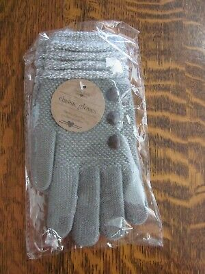 Britt's Knits Two Tone Gray Ultra Soft Winter Gloves With Button Accents