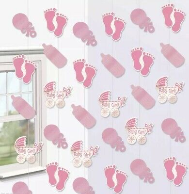 Baby Shower Decorations Pink / Girl Banners Balloons Buntings Confetti