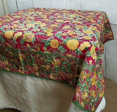 Vintage April Cornell Red Gold Floral Birds Reversible Square Cotton Tablecloth