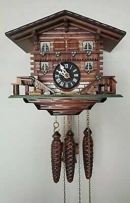 "Hubert HERR Black Forest German Wood Musical Cuckoo Clock W/Tag Docs ""Edelweiss"""