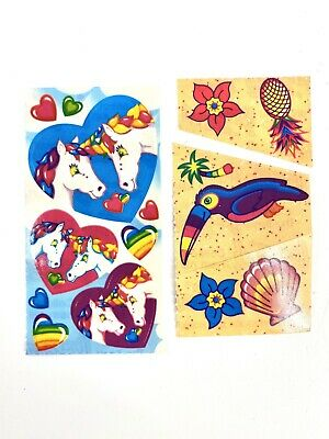 Vintage 1980's Lisa Frank Collectible Sticker Sections (2)