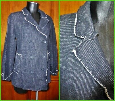 CONTEMPORARY Chic Black Ribbed Knit JERSEY Raw Edges BLAZER JACKET Coat M L