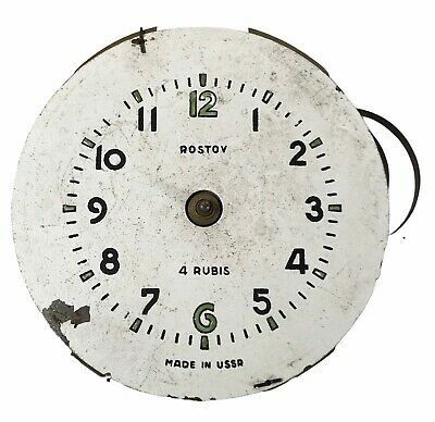 Antique Vintage Rostov 4 Rubis Ussr Clock Movement & Face 8.5 Cm <Hm07 (T26)