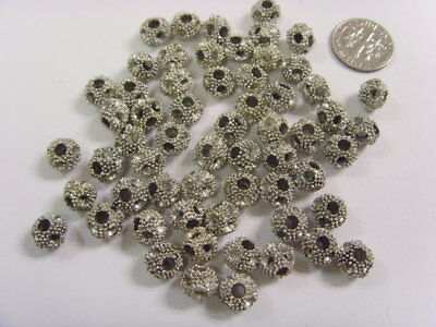 60 vintage very nice dotted sliver berries beads 9 x 7 mm arts crafts FV1502