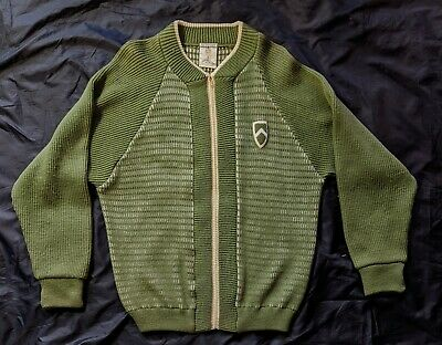 VTG 50s GREEN & WHITE KNIT TALON ZIP CHENILLE PATCH RAGLAN SWEATER PENGUIN SKM L