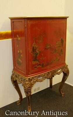Chinese Chippendale Drinks Cabinet Red Lacquer Chinoiserie