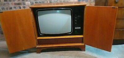 Antique vintage tv set in solid wood unit beautiful dynatron