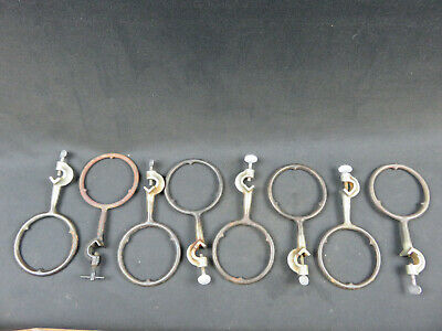 Lot of 8 Vintage cast iron 4 inch ring support and clamp