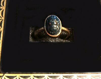 GENUINE Egyptian Revival ANTIQUE 14K GOLD Carved Bloodstone Scarab RING - Size 5