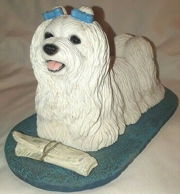 White Maltese Dog Figurine Sculpture Decor