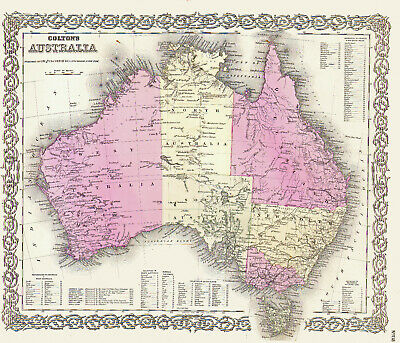 1855 Map of AUSTRALIA Full Hand Colored by J.H. Colton - Outstanding, Large Size