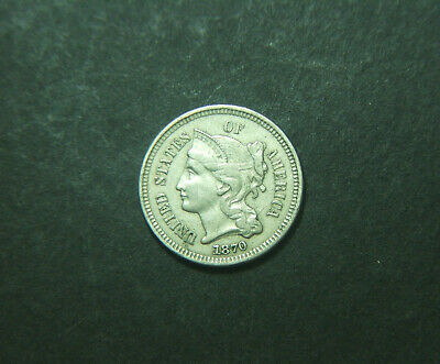 1870 USA 3 cent nickle coin