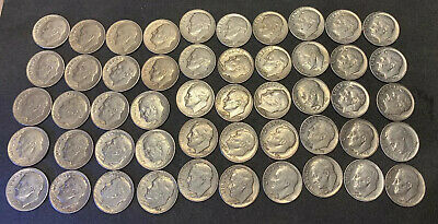 Lot of 50 Circulated 1946-1963 Roosevelt Dimes. Most Are EF++ Actual Coins