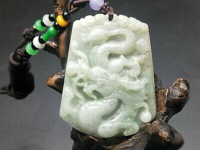 China Delicate Hand Carved Myanmar Emerald Wear jewelry Pendant Dragon 02