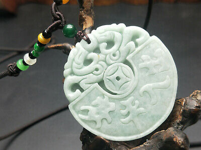 China Delicate Hand Carved Myanmar Emerald Wear jewelry Pendant Two dragons 04