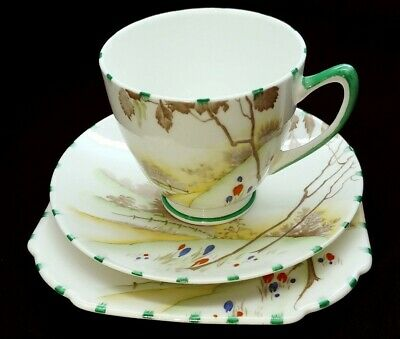 Beautiful Vintage Shelley SPRING 12061 Tea Trio Cup Saucer Plate Set
