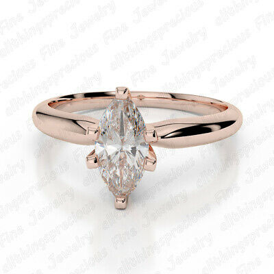2.00 Ct Marquise Cut Diamond 10K Rose Gold Finish Solitaire Engagement Ring