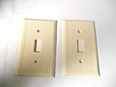 2 Vintage Bakelite Ivory Ribbed Electrical Switch Wall Plate Box Covers