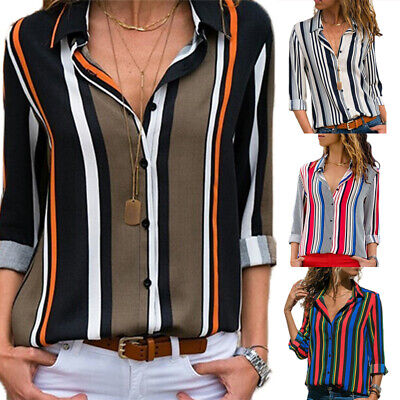 Women Stripe Long Sleeve Shirts Tops Ladies Loose V Neck Casual Blouse Plus Size