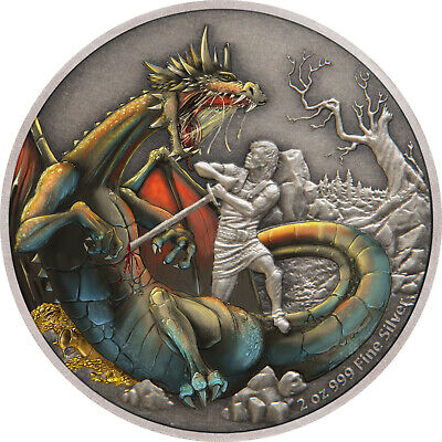 Niue - 2020 - 2 OZ Silver Proof  Coin- Dragons - The Norse Dragon