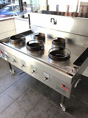 Commercial 5 Burner Gas Chinese Wok Cooker Excellent Condition. (Far East)