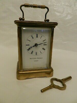 Elegant MATTHEW NORMAN 1754 8 Day Brass Carriage Clock - Working (With Key)