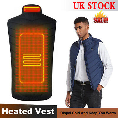 Mens Electric Vest Heated Jacket USB Thermal Warm Heated Pad Winter Body Warmer