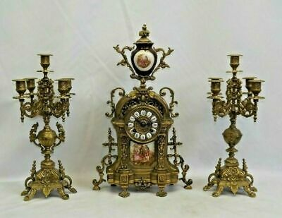 FHS German Brass Mantel Clock with a pair of Candelabra candle hold