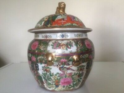 Antique Signed Chinese Famille Rose Porcelain Large Lidded Pot With Lion Handle
