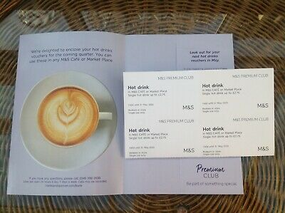 M&S Hot Drinks Vouchers x 4 Valid until 31 May 2020
