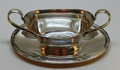 Silver Plated Sauce Boat  Attached Under Plate International Silver Camille 6013
