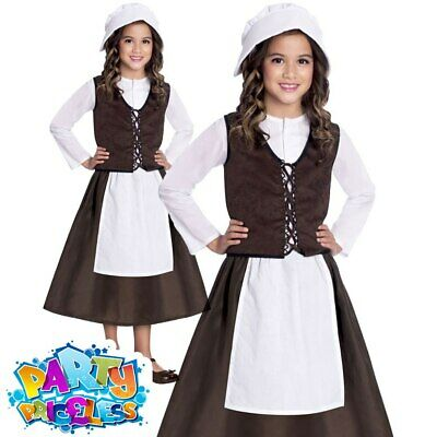Kids Tudor Girl Costume Victorian Peasant Child Book Week Day Fancy Dress Outfit