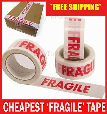 70 Rolls Of Fragile Printed Strong Parcel Packing Tape 48Mm X 66M Carton Sealing