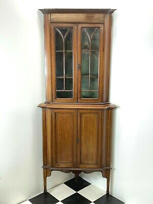Antique Edwardian inlaid mahogany corner display cabinet beaded glass grand size